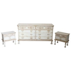 20th Century Italian Country Lacquered Commode and Two Nightstand