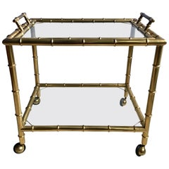 Vintage French Brass Faux Bamboo Drinks Trolley