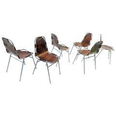 "Set of 12 ""Perriand"" Style Chairs, 1970"