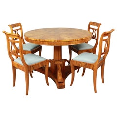 Early 19th Century Round Biedermeier Dining Table with Four Dining Chairs