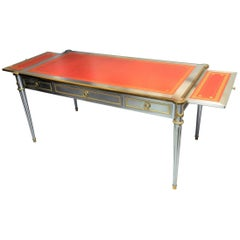 John Vesey V-60 Stainless Steel Bronze and Red Leather Desk, 1960s
