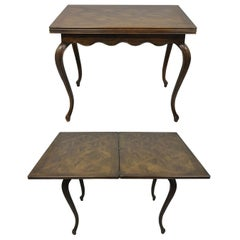Henredon Country French Oak Parquetry Extension Flip Top Game Table Console Desk