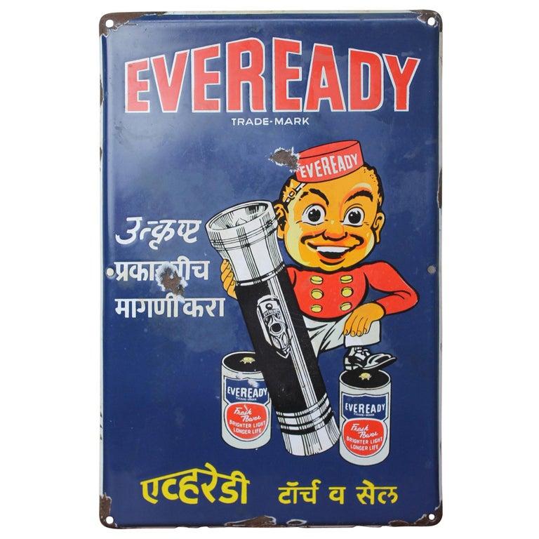 1940s Enamel Sign for Eveready Batteries