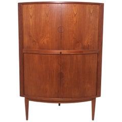 Danish Teak Corner Dry Bar Cabinet with Tambour Doors, circa 1960s