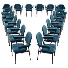 Large Set of Twenty Blue Velvet Italian Chairs