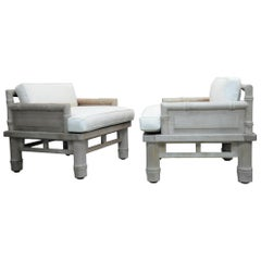 McGuire Solid Naturally Patinated Teak Lounge Chairs