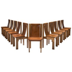 French Set of Eleven Cognac Leather Dining Chairs