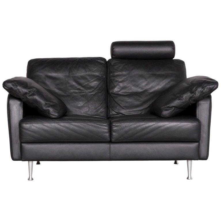 Willi Schillig Designer Leather Sofa Black Two-Seat Couch
