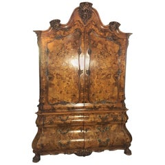 Baroque Style Armoire with Floral Ornamentations