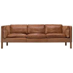 Danish Three-Seat Sofa in Cognac Leather and Oak