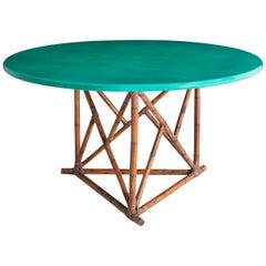 Tropical Green Mid-century modern hollywood regency Bamboo ratan Dining Table
