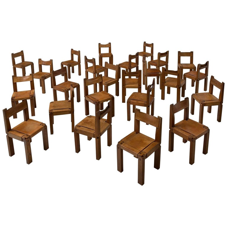 Pierre Chapo Large Set of Twelve S11 Dining Chairs For Sale