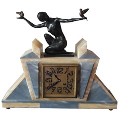 Onyx, Bronze and Marble Art Deco Clock