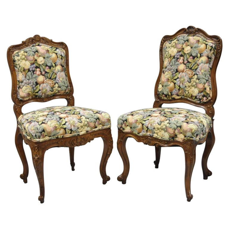 Antique Pair of French Louis XV Style Carved Walnut Upholstered Side Chairs