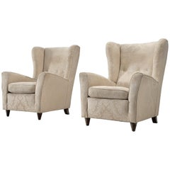Danish Wingback Chair with Sand Fabric