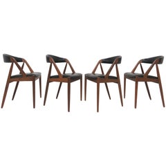 Set of Four Kai Kristiansen Danish Teak Dining Chairs, circa 1960s