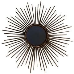 1950s French Gilt Metal Sunburst Mirror