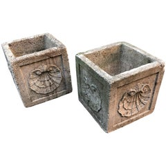 Pair of Vintage Concrete Planters with Large Shell Decoration