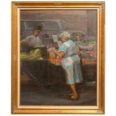 Renee Berger New York Street Scene Fruit Vendor Oil Painting