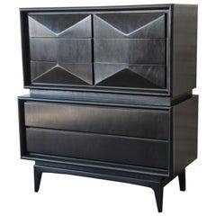 Ebonized Diamond Front Highboy Dresser by United