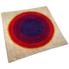 """Danish Wool Rya Rug Tapestry """"Ring"""" by Hojer Eksport Wilton, 1960s, Denmark"""