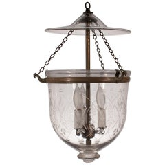 19th Century Bell Jar Lantern with Wheat Etching