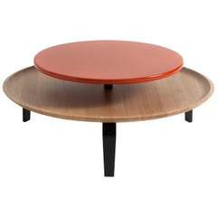 Secreto Round Coffee Table by Colé, Natural Oak and Orange Lacquered Top
