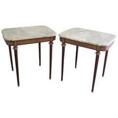 Pair of Louis XVI Style Marble-Top End Tables mann. Forest