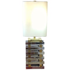 Italian Metal Brass and Steel Geometric White Lampshade Table Lamp, 1970s