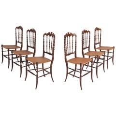 Chiavari Cherrywood and Wicker Dining Chairs after Giuseppe Gaetano Descales