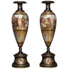 Pair of Vienna Porcelain Vases with Classical Scenes, circa 1890