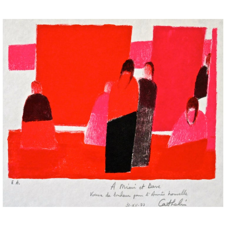 Bernard Cathelin 'Multiple Silhouettes' Original Lithograph