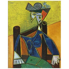 Sitting Woman, after Expressionist Oil Painting by Pablo Picasso