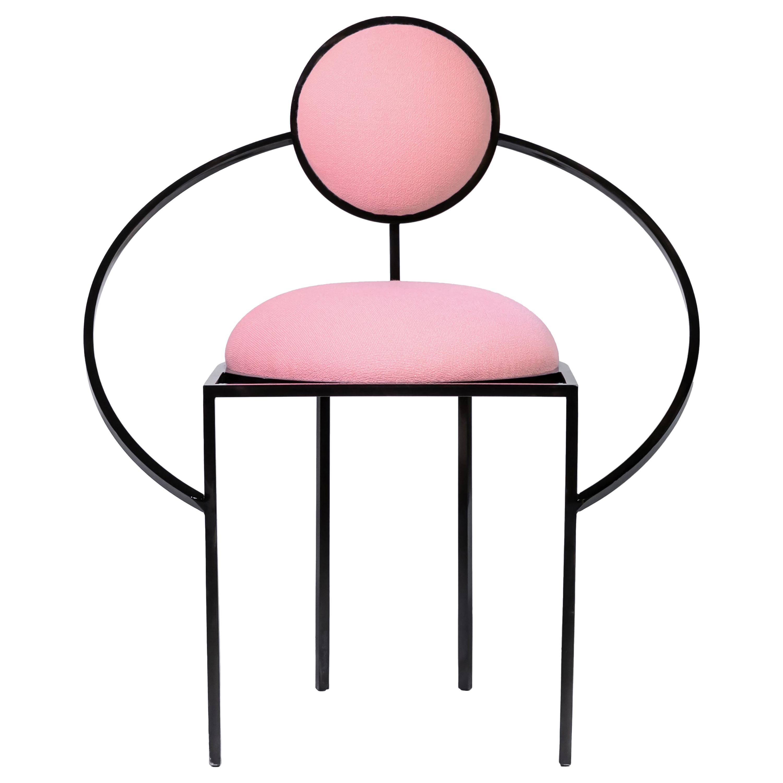 Orbit Chair in Pink Wool Fabric and Black Steel, by Lara Bohinc