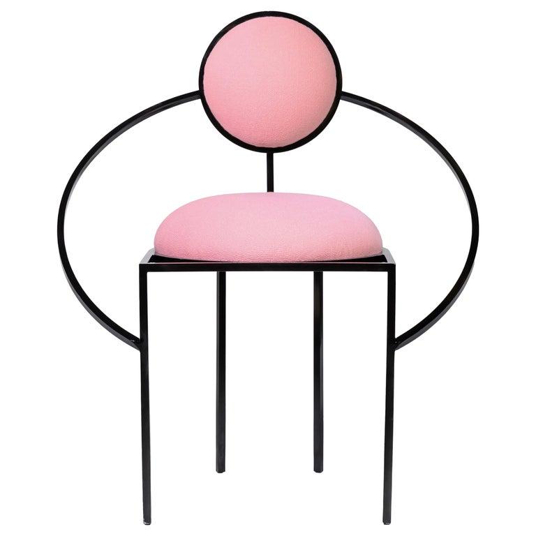 Orbit Chair in Pink Wool Fabric and Black Steel, by Lara Bohinc For Sale