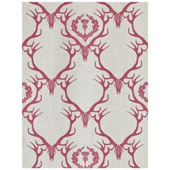 'Deer Damask' Contemporary, Traditional Fabric in Claret