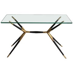 1950s Black and Brass Side Table or Console Table, Mid-Century Italian
