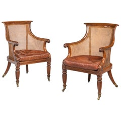 Pair of Regency Period Bergere Library Chairs with Swept Arms