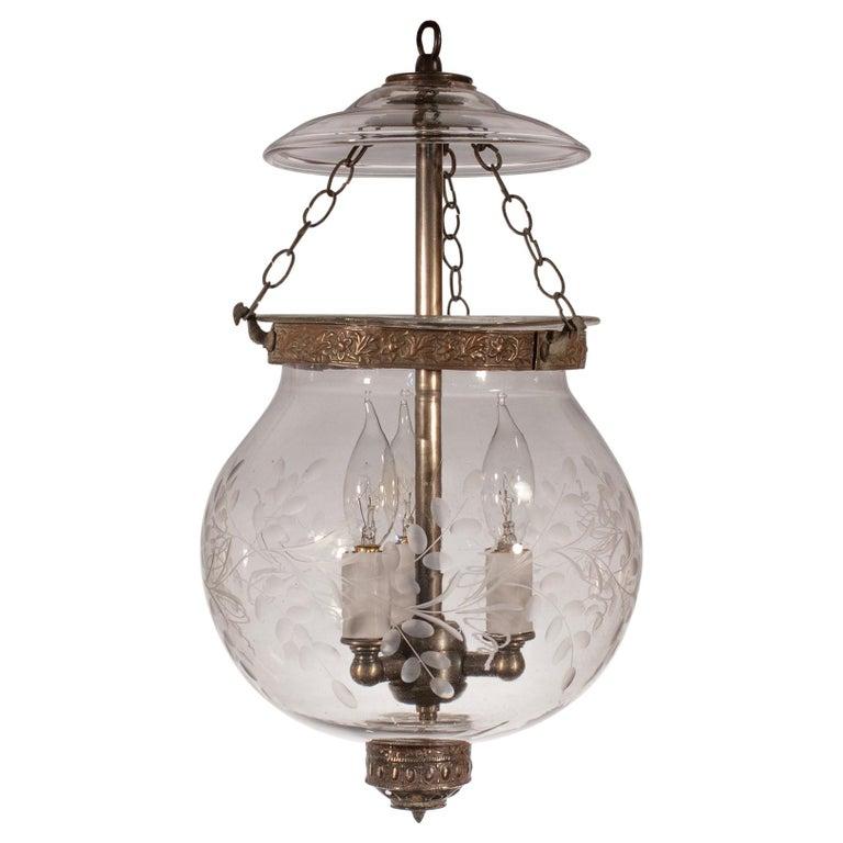 19th Century Etched Globe Bell Jar Lantern