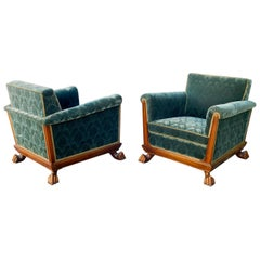 Swedish Art Deco Cubic Club Chairs with Claw Feet by Eugen Höglund, circa 1930