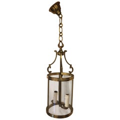 Rounded Golden Bronze Metal and Curved Glass Lantern, French, circa 1940s
