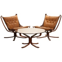 Set Camel Leather 'Falcon' Lounge Chairs and Coffee Table by Sigurd Ressell