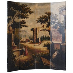 Four Panel Hand-Painted Screen Featuring a Landscape with Architectural Motifs