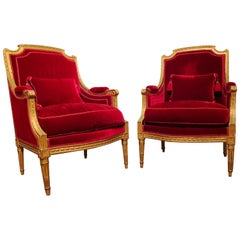 Exceptional Pair of Giltwood Bergères à La Reine, stamped Brizard, France