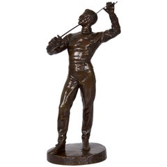 Antique French Bronze Sculpture of a Fencer by Benoit Rougelet