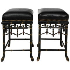 Pair of Bamboo and Leather Bar Stools