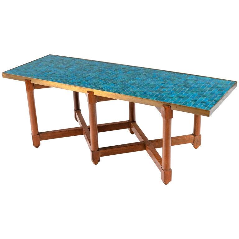 Dunbar Murano Glass Tile Top Coffee Table by Edward Wormley, USA, 1950s For Sale
