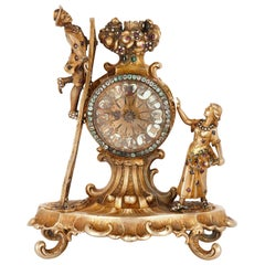 19th Century Austrian Jewel Encrusted Silver Gilt Clock
