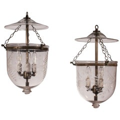 Pair of 19th Century Petite Bell Jar Lanterns with Floral Etching