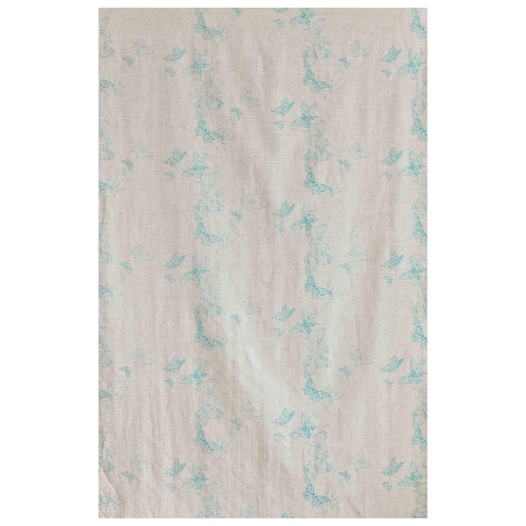 'Bugs & Butterflies' Contemporary, Traditional Fabric in Ice Blue